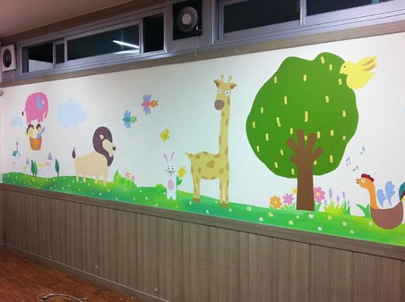 충주 ㅎ교회 벽화 작업 (어린이 벽화 , 동물 벽화 )