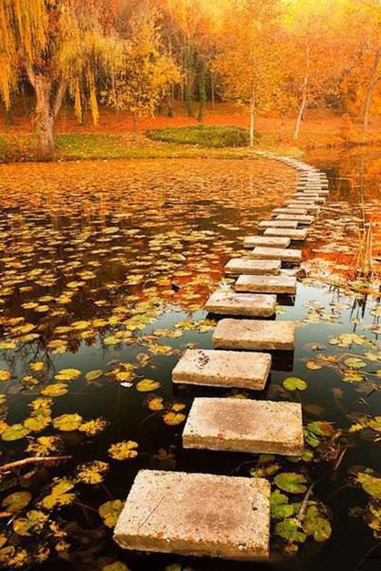 A stone path across the lake, Poland.