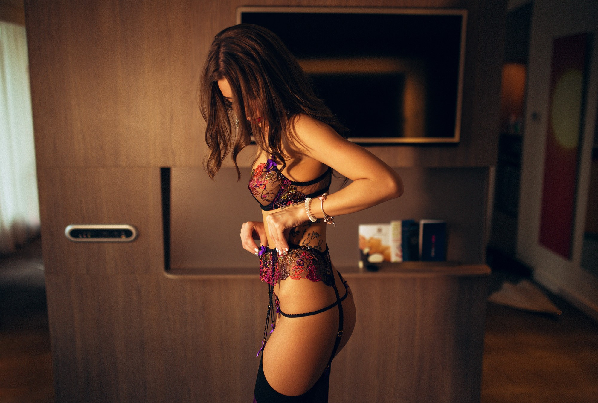 cool woman in lingerie
