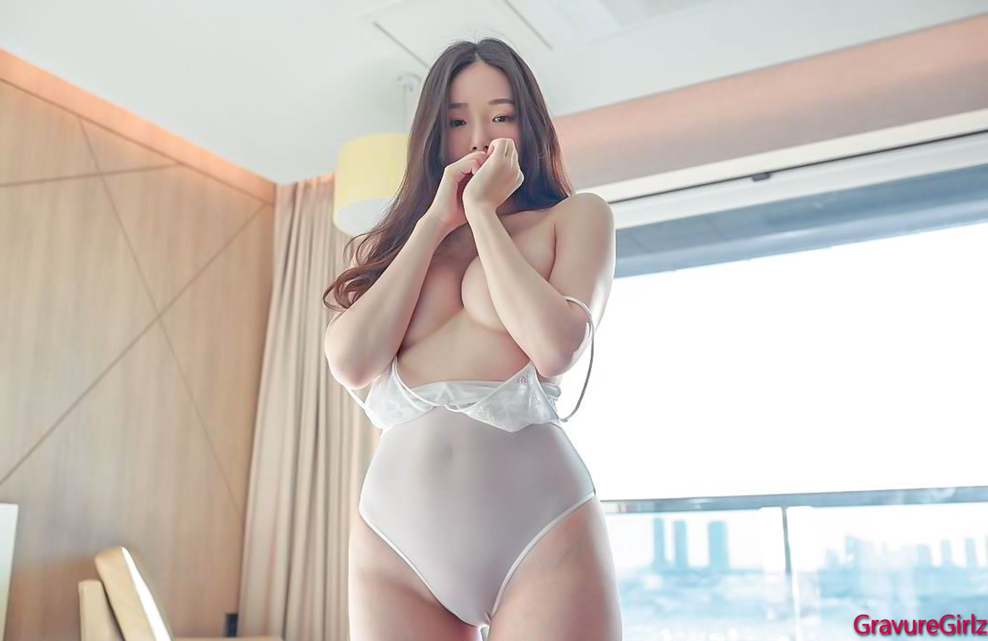 hot Korean glamour wearing sexy lingerie